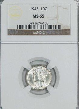 1943 NGC MS65 Mercury Dime