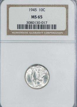 1945 NGC MS65 Mercury Dime