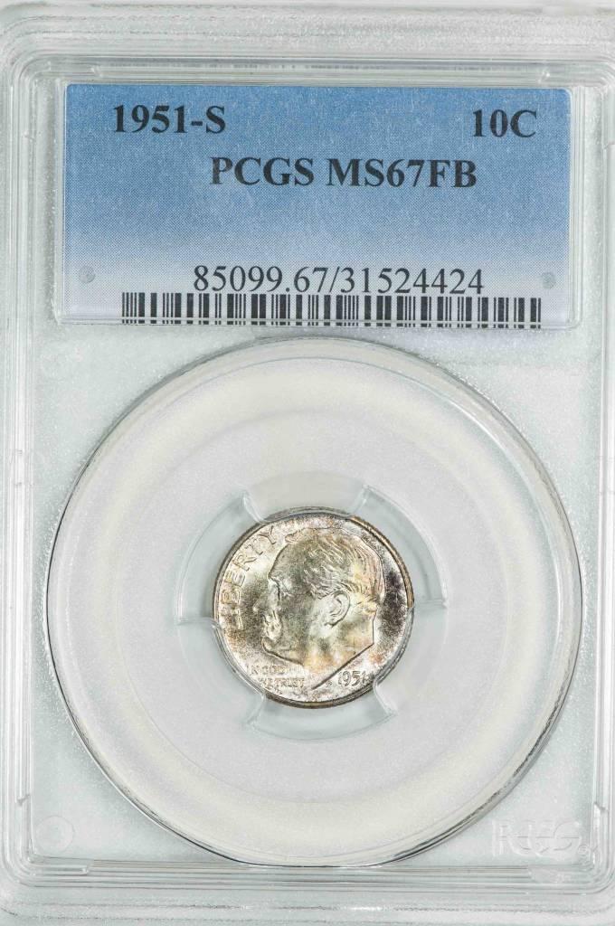 1951-S 10C MS67FB PCGS