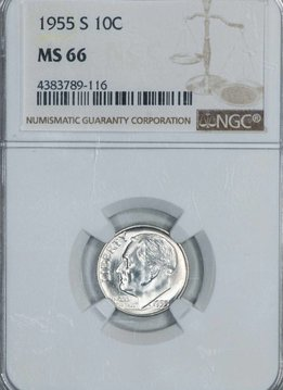 1955 S NGC MS66 Roosevelt Dime