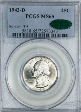 1942 D PCGS MS65 CAC Washington Quarter