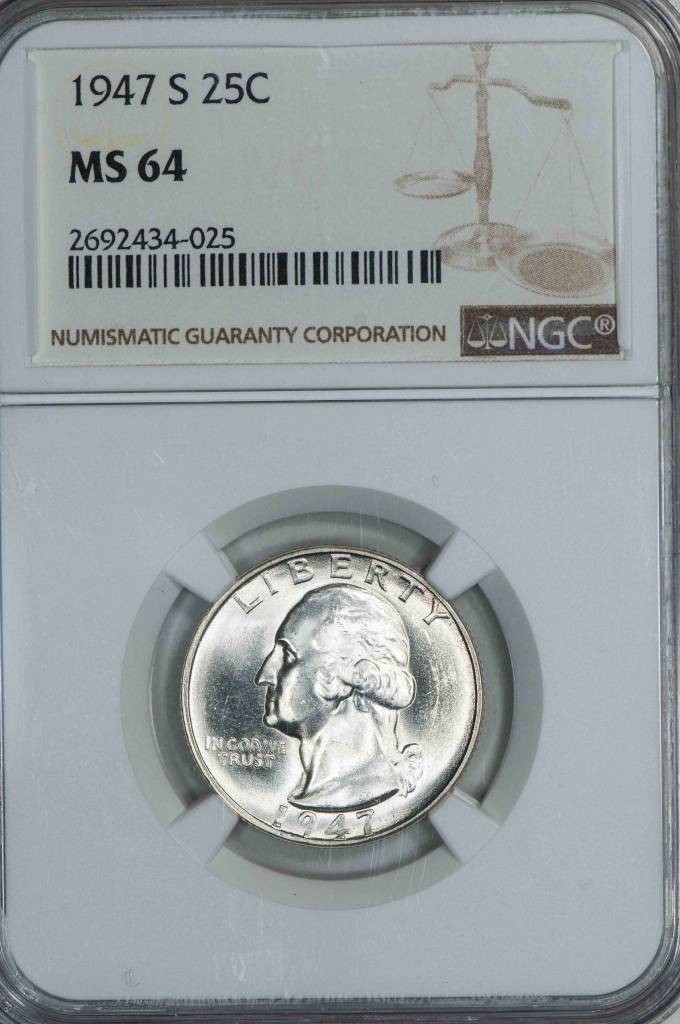 1947 S NGC MS64 Washington Quarter