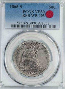 1865 S PCGS VF30 RPD WB-103 Seated Half Dollar
