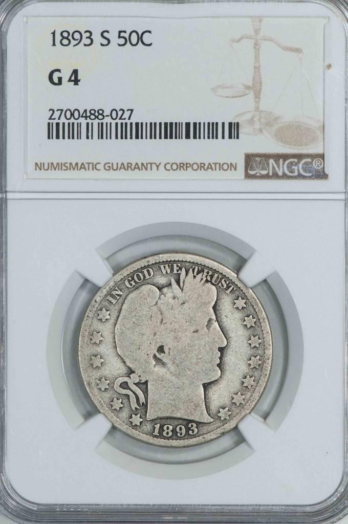 1893 S NGC G4 Barber Half Dollar