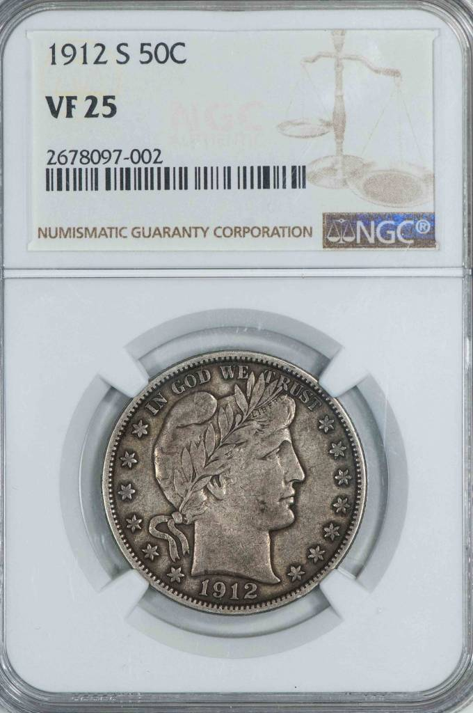 1912 S NGC VF25 Barber Half Dollar