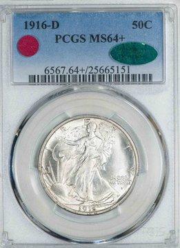 1916 D PCGS MS64+ CAC Walking Liberty Half Dollar