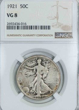 1921 NGC VG8 Walking Liberty Half Dollar