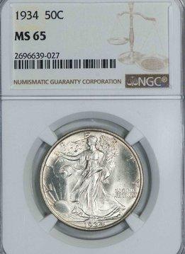 1934 NGC MS65 Walking Liberty Half