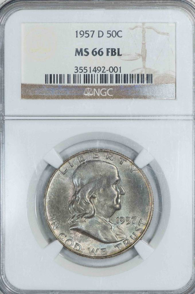 1957-D NGC MS66 FBL Franklin Half Dollar