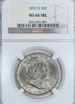 1957-D NGC MS66 FBL Franklin Half Dollar