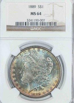 1889 NGC MS64 Morgan Silver Dollar Monster Toning