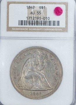 1842 NGC AU55 Seated Liberty Dollar
