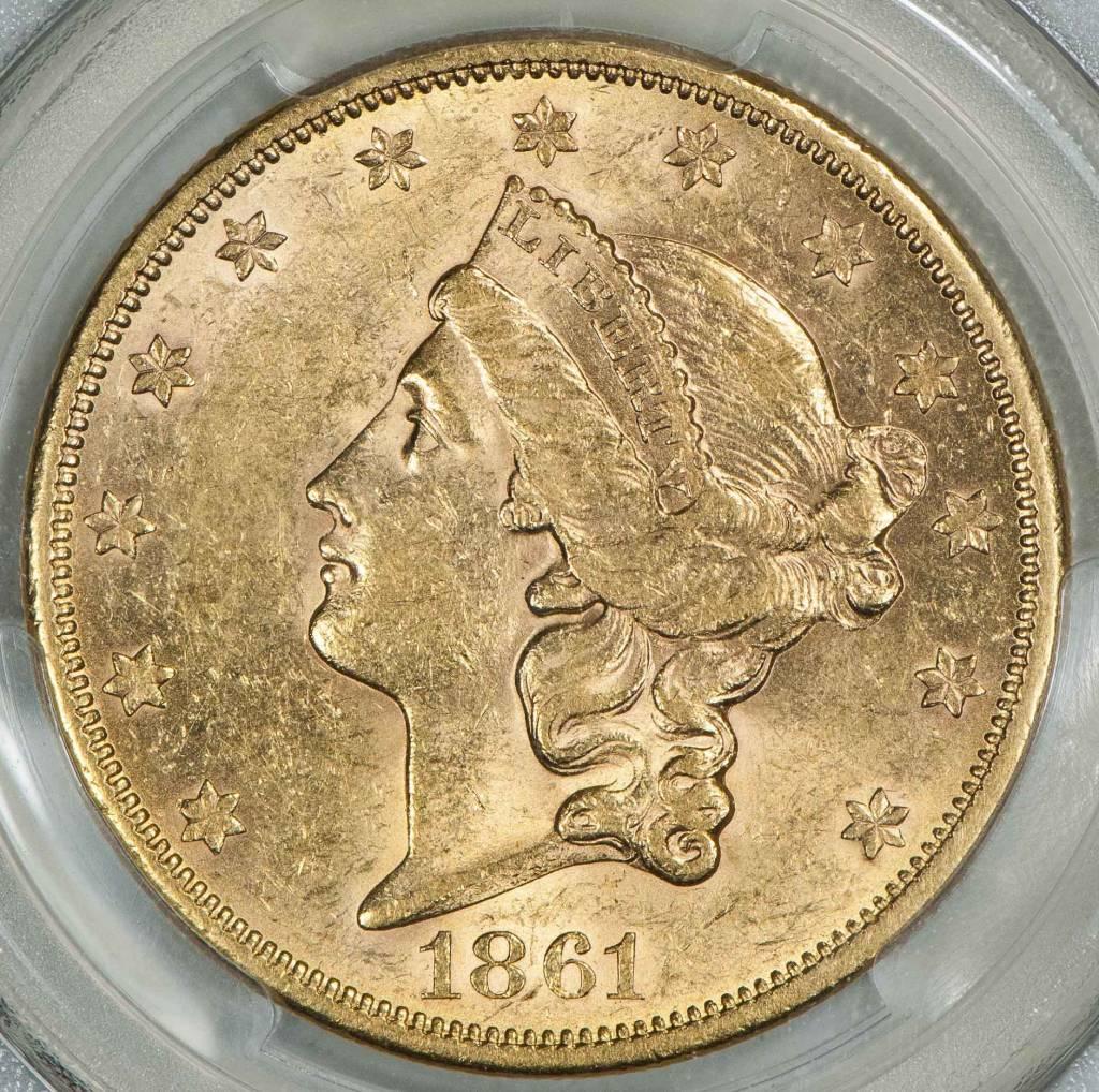 1861 S PCGS AU58 CAC $20 Liberty Head Double Eagle