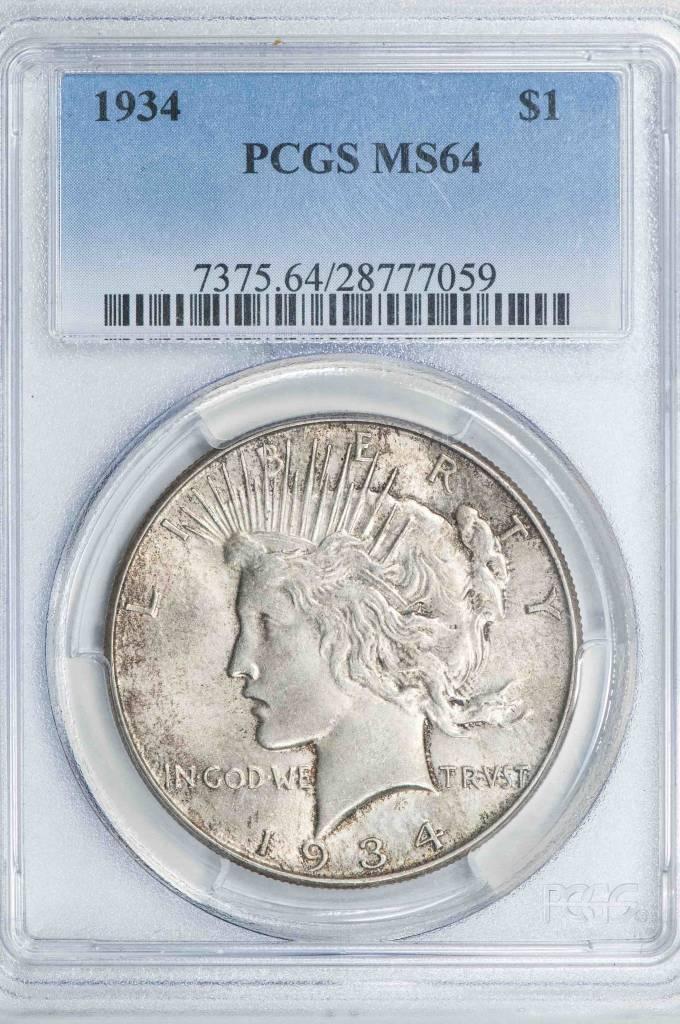 1934 PCGS MS64 Peace Silver Dollar