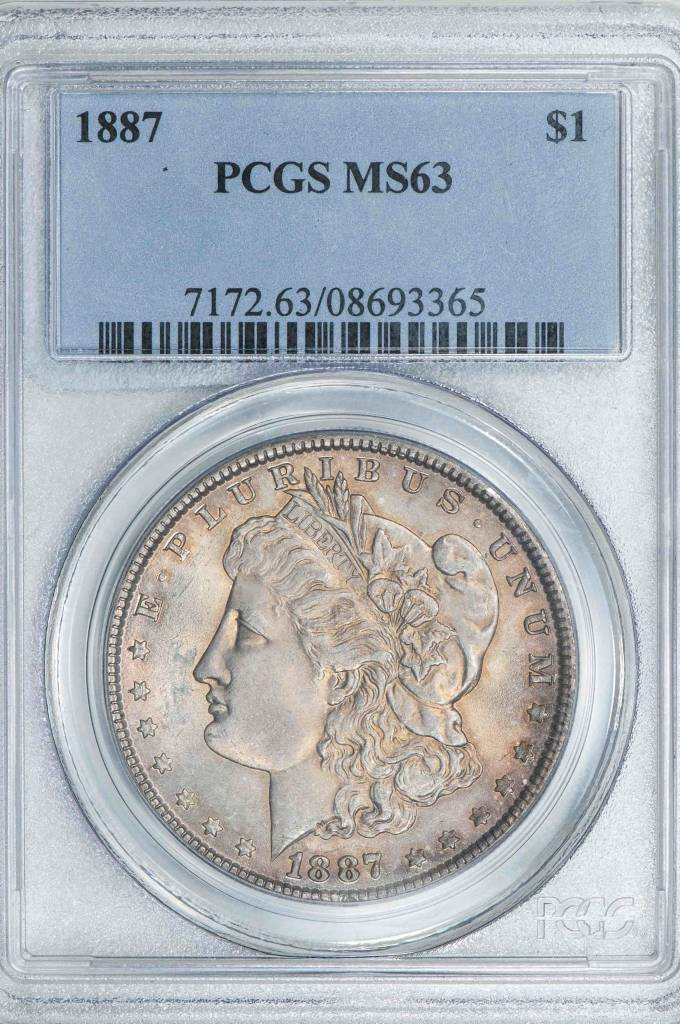 1887 PCGS MS63 Morgan Dollar Nice Toning