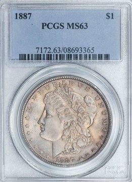 1887 PCGS MS63 Morgan Dollar Nice Toning