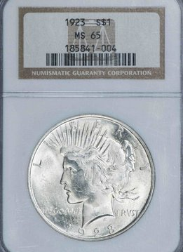 1923 NGC MS65 Peace Silver Dollar