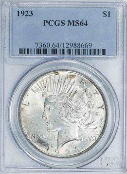1923 PCGS MS64 Peace Dollar