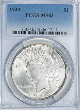 1923 PCGS MS63 Peace Silver Dollar