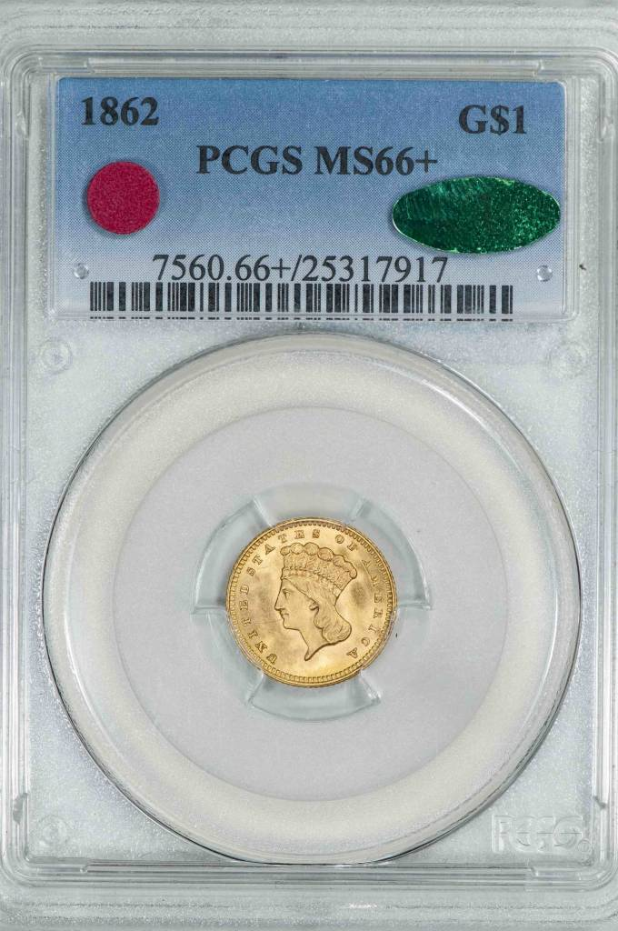 1862 PCGS MS66+ CAC Gold Dollar