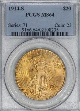 1914-S PCGS MS64 $20 Saint Gaudens Double Eagle