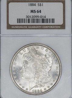 1884 NGC MS64 $1 Morgan Silver Dollar