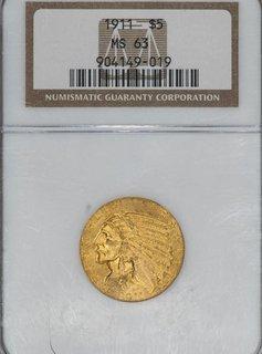 1911 NGC MS63 $5 Indian Head Half Eagle