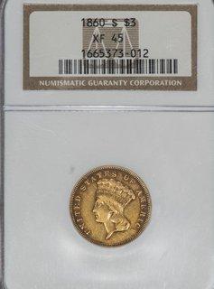 1860-S NGC XF45 Indian Princess Three Dollar Gold