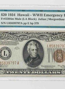 1934 PMG 45 $20 Hawaii WWII Emergency Issue Fr#2304m Mule