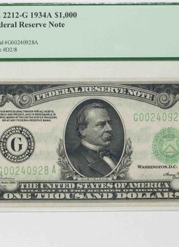 1934 A PCGS 64PPQ $1000 Federal Reserve Note