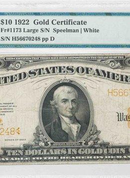 1922 PMG VF25 $10 Gold Certificate