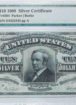 1908 PMG VF35 $10 Silver Certificate