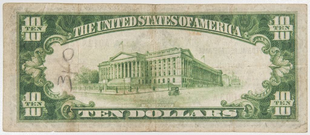 1929 $10 Federal reserve Bank Of Boston National Bank Note
