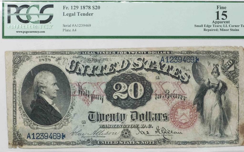 1878 PCGS Apparent F15 $20 Legal Tender Note