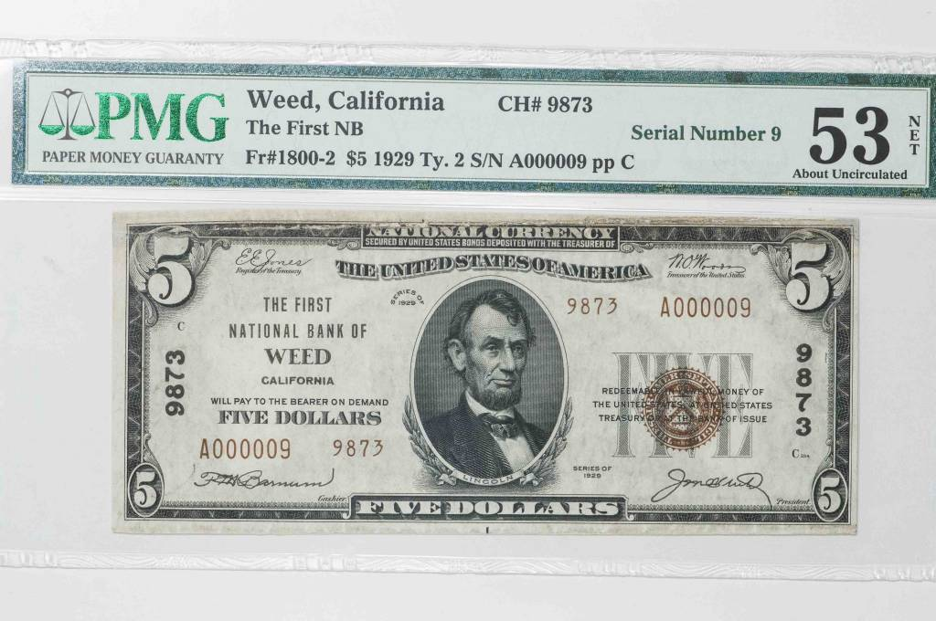 1929 Ty.2 PMG Net AU53 $5 Weed California National Bank Note CH#9873 Serial Number 9
