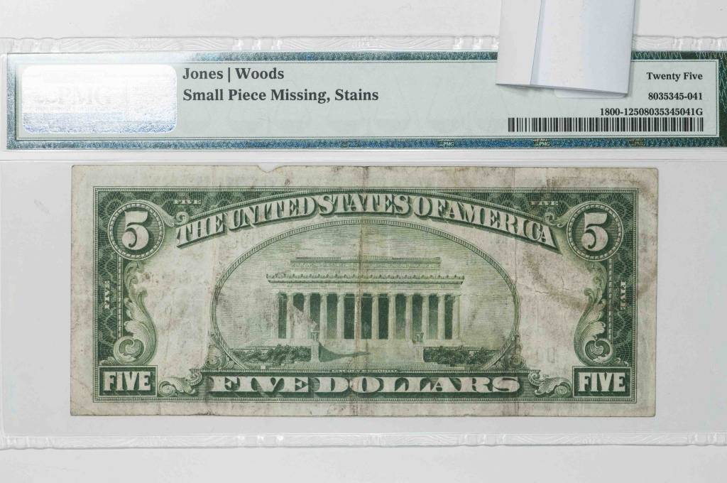 1929 Ty.1 PMG VF25 $5 Napa California National Bank Note CH#7176 Fr#1800-1