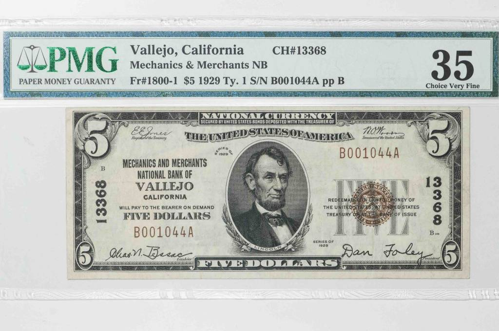 1929 Ty.1 PMG VF35 Vallejo California Mechanics & Merchants National Bank Note CH#13368 Fr#1800-1