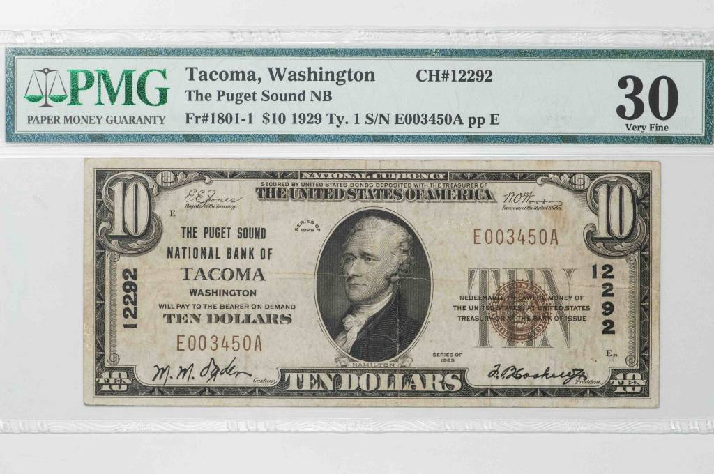 1929 Ty.1 $10 PMG VF30 Tacoma Washington Puget Sound National Bank Note CH#12292