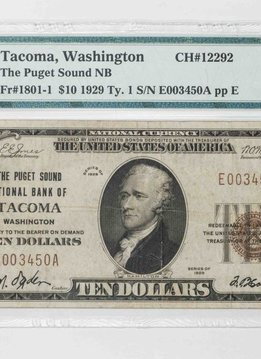 1929 Ty.1 $10 PMG VF30 Tacoma Washington Puget Sound National Bank Note CH#12292