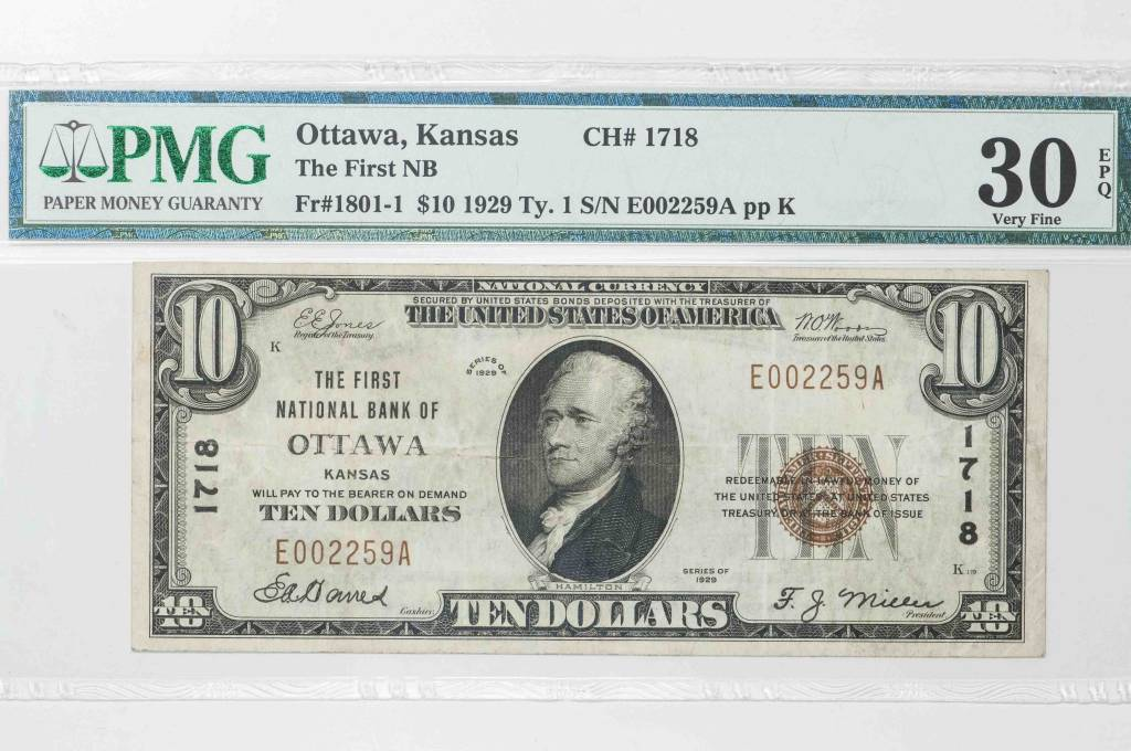 1929 Ty.1 $10 PMG VF30 EPQ Ottawa Kansas National Bank Note CH#1718