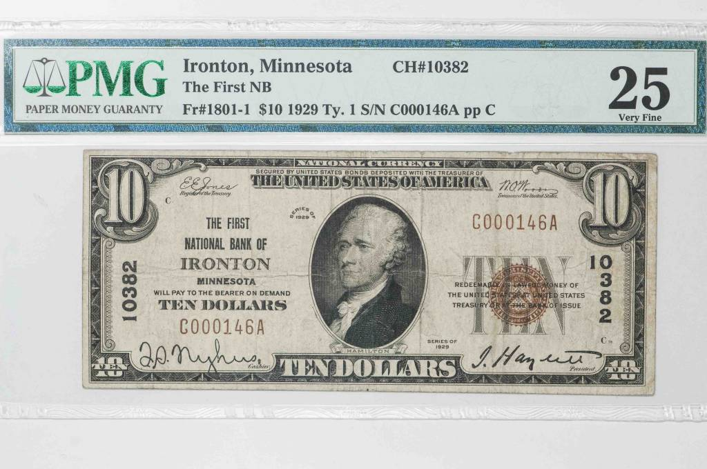 1929 Ty.1 PMG VF25 $10 Ironton Minnesota National Bank Note CH#10382