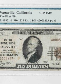 1929 Ty.1 PMG VF20 $10 Vacaville California National Bank Note CH#9795