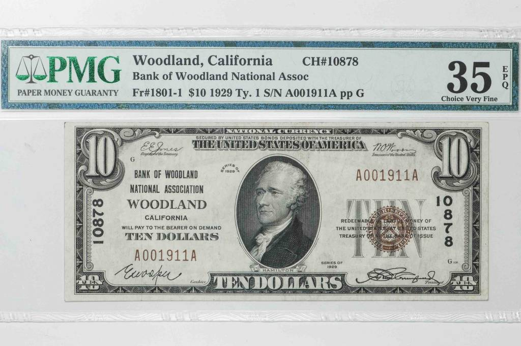 1929 Ty.1 PMG VF30 EPQ $10 Woodlan California National Bank Note CH#10878