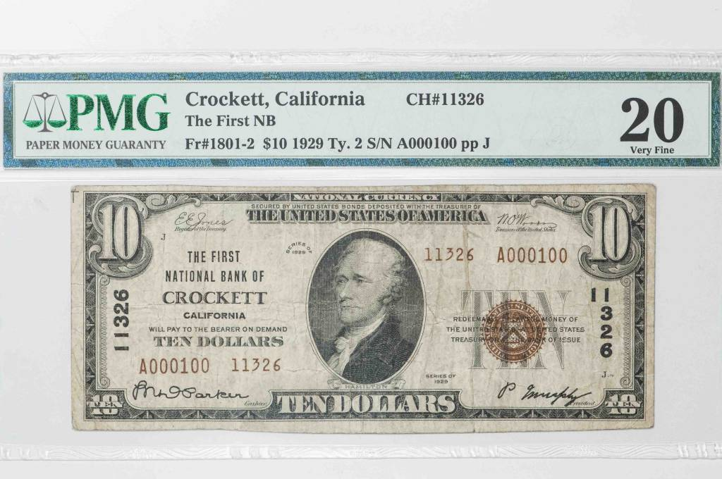 1929 Ty.2 PMG VF20  Crocket California National Bank Note CH#11326