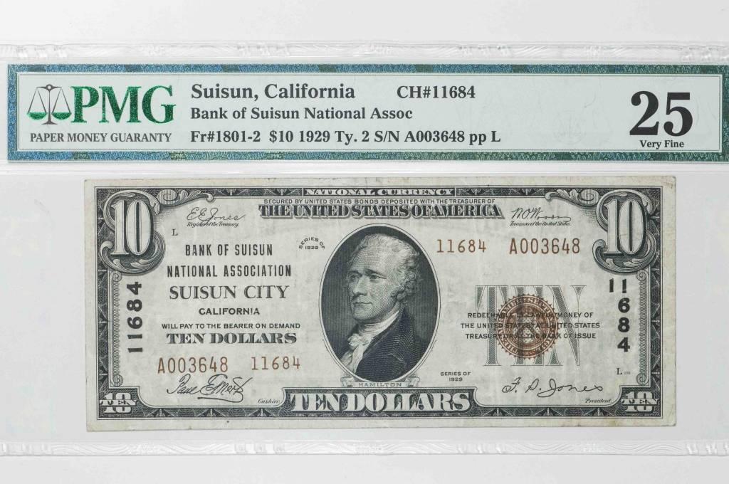 1929 Ty.2 PMG VF25 $10 Suisun California Bank of Suisun National Association National Bank Note CH#11684