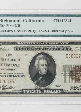 1929 Ty.1 PMG VF25 $20 Richmond California Naitonal Bank Note CH#12341