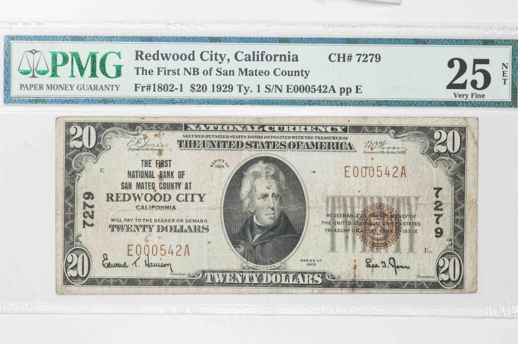 1929 Ty.1 PMG VF25 $20 Redwood City California First National Bank of San Mateo County CH#7279