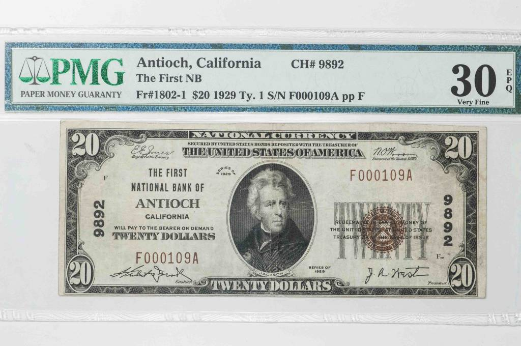 1929 Ty.1 PMG VF30 EPQ ANtich California National Bank Note CH#9892