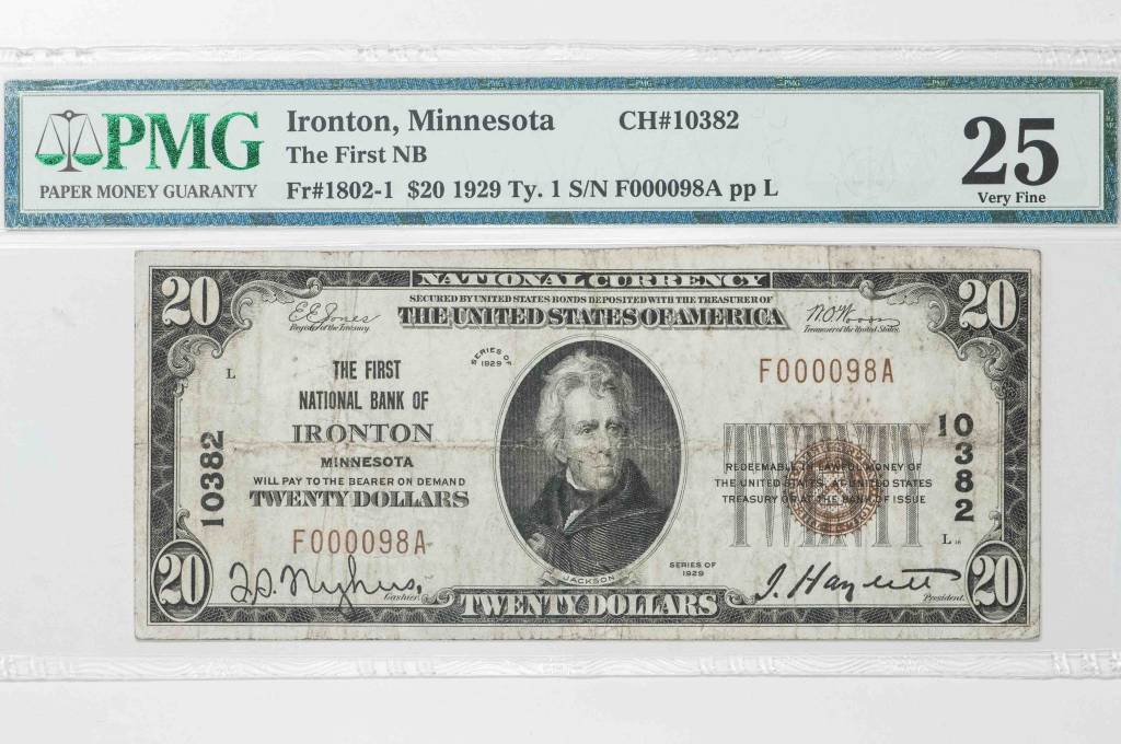 1929 Ty.1 PMG VF25 $20 Ironton Minnesota National Bank Note CH#10382