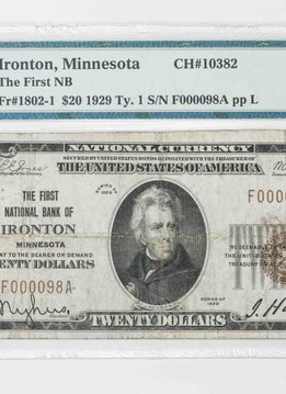 1929 Ty.1 PMG VF25 $20 Ironton Minnesota National Bank Note CH#10382